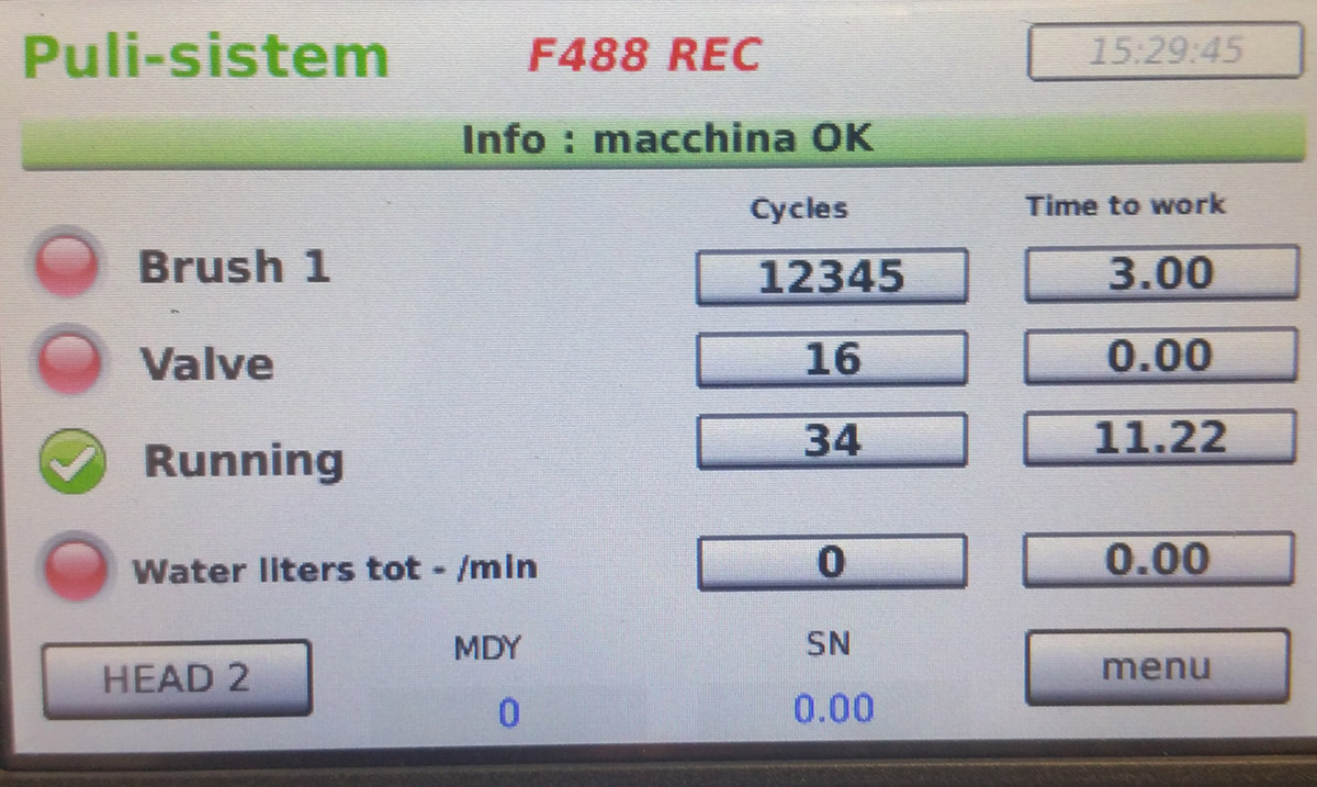 pannello comando software macchina produzione
